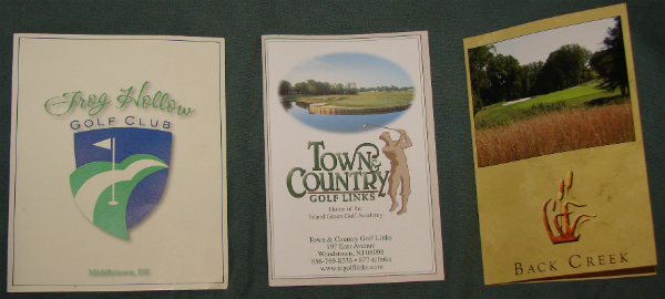 Frog Hollow, Back Creek, Town & Country Scorecard covers.