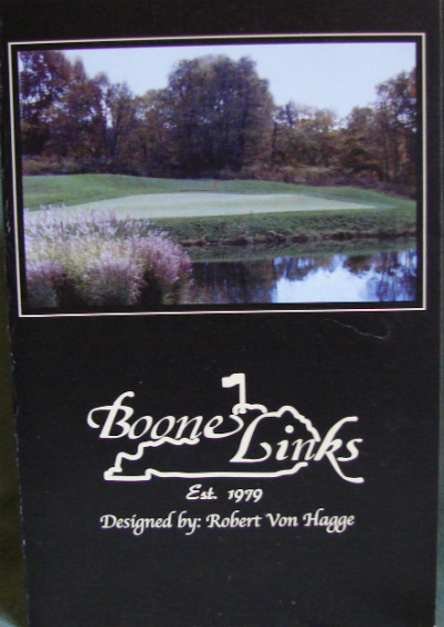 Front cover of Boone Links Golf Club Scorecard