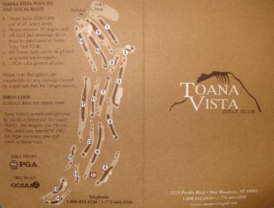 Front Cover of Toana Vista Scorecard