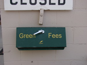 Box for green fees at Prairie Pines