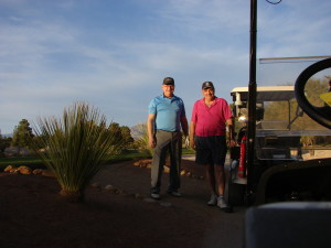 My playing partner Joe and I, at the 18th tee, Painted Desert Golf Club