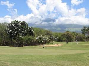 Photo from the 8th green on Maui Nui Golf Club, showing Haleakala in the backgroud.