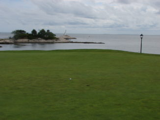 view of the ocean from one of the greens