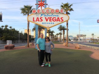 "Maria and I at the famous ""Welcome to Fabulous Las Vegas"" sign"