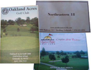 scorecard covers for Dayton Ridge GC, Oakland Acres GC and Northeastern 18 GC
