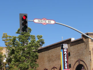 Route 66 street sign in Flagstaff AZ