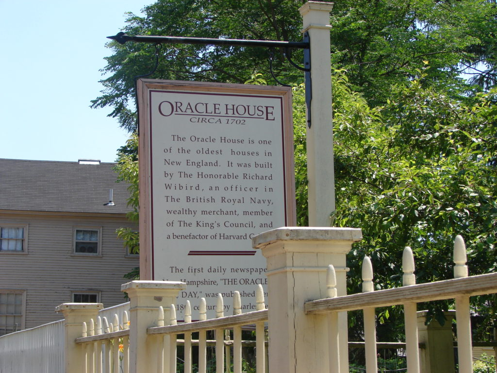 Plackard for the Oracle House in Portsmouth NH