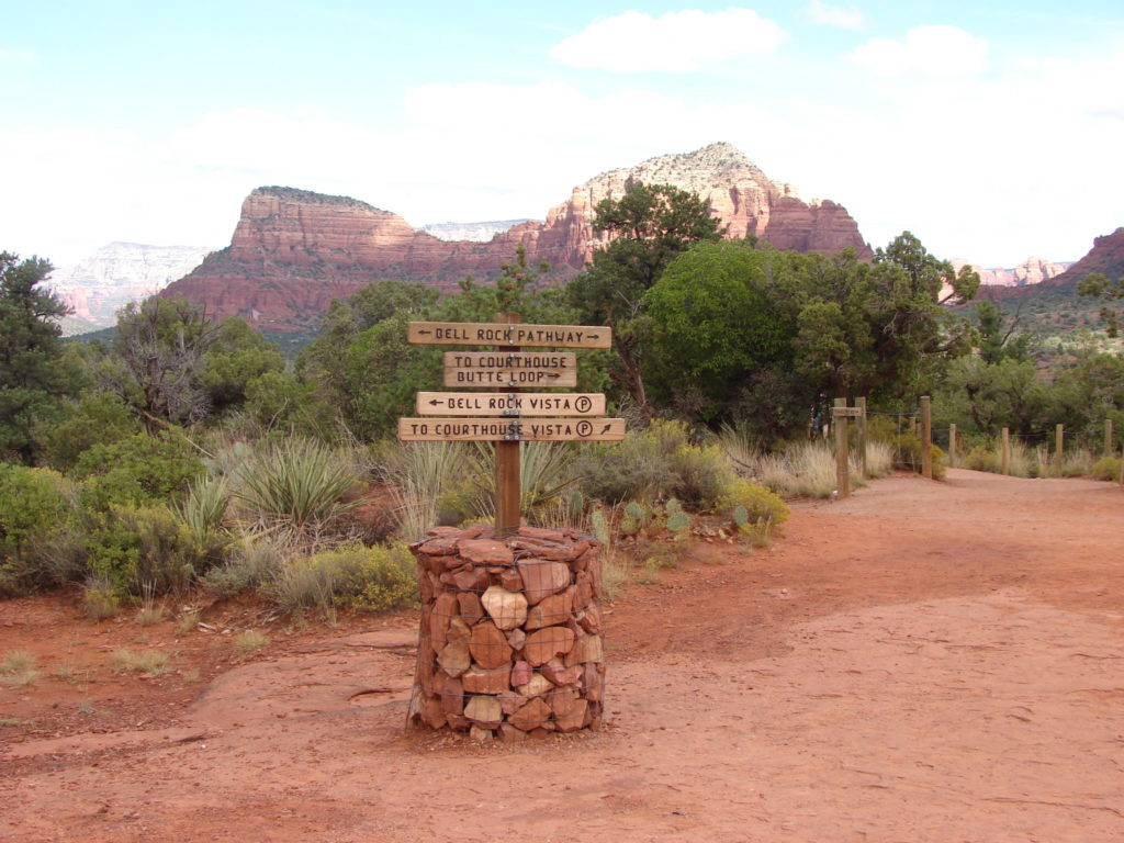 Sign post for various hiking trails at Bell Rock